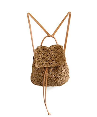 Bronze Times (TM) Vintage Straw Weave Handwork School Travel Backpack Daypack (Coffee)