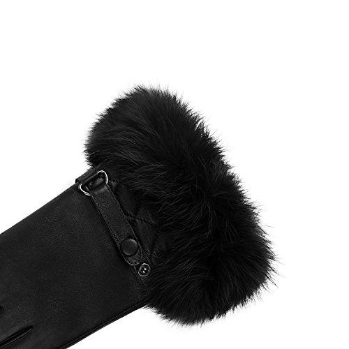 GSG Womens Luxury Italian Genuine Nappa Leather Gloves Fashion Fur Trim Full Palm Touchscreen Winter Warm Gloves Black 8.5 by GSG (Image #4)'