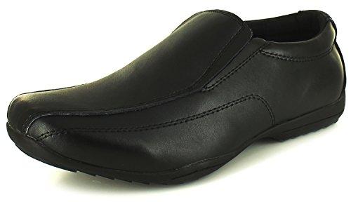 NEU Jungen / Kinder schwarz beschichtetes Leder Slipper förmliche Schuhe schwarz - UK Größen 1-13