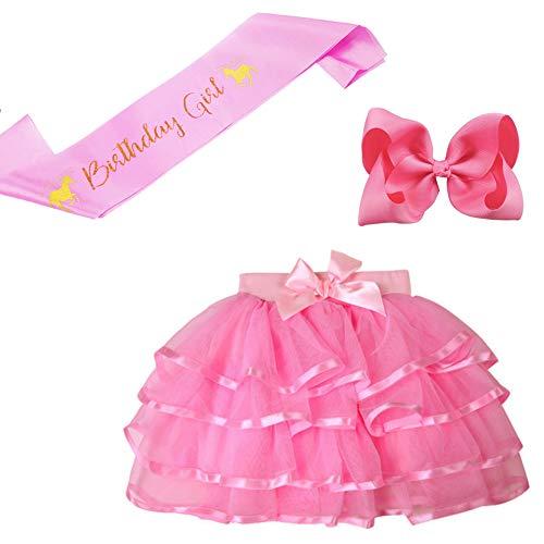 BGFKS 4 Layered Tulle Tutu Skirt for Girls with Matching Hairbow,Girl Ballet Tutu Skirt (Birth-Pink, 2-3 Years)