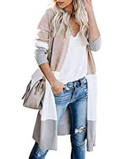 CUALITA Womens Striped Open Front Colorblock Long Knit Sweaters Cardigan