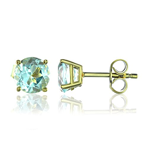 (2.00 Ct.Round Cut 6mm Blue Topaz Solitaire Earrings Gemstone Studs 925 Sterling Silver For Women)