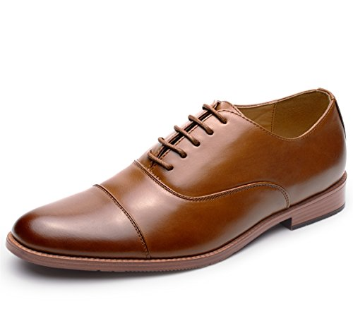 Men's Leather Oxford Dress Shoes Formal Cap Toe Lace Up Modern Shoes Brown ()