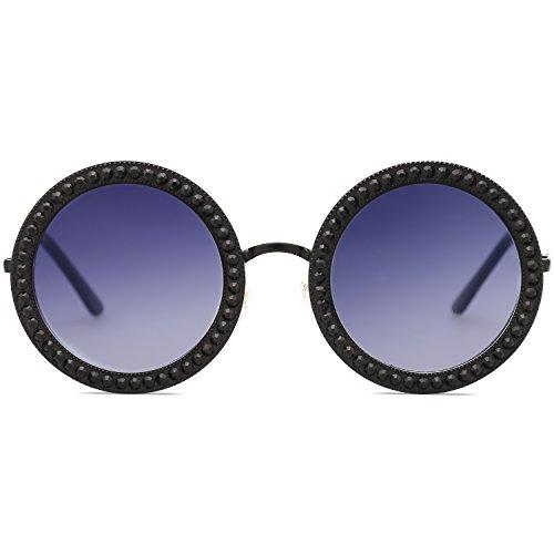 SOJOS Femme Rond Métal Gris Gradient Lentille Noir Cadre pour Soleil Lunettes SJ1095 de Rétro C1 Txn0STrq
