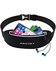 Guzack Sport Hüfttasche, Laufgürtel Running Bauchtasche Gürteltasche Lauftasche mit Kopfhöreranschluss & Reflektierenden Streifen für iPhone X XR XS MAX 8 Plus Samsung S9 S8 Plus Handy 6.5 Zoll