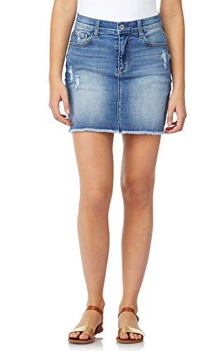 WallFlower Women's Juniors Vintage Stretch Denim Mini Skirt in Lavender, 7 ()