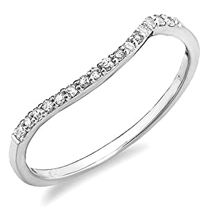 0.12 Carat (ctw) 14K Gold Round Cut Diamond Ladies Anniversary Wedding Contour Stackable Band Guard Ring