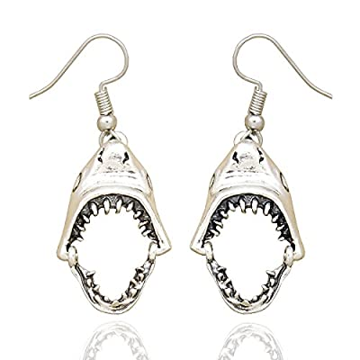RechicGu Vintage Silver Shark Hinged Tooth Jaws Skull Hell Demon Mouth Dangle Earrings Fancy Dress