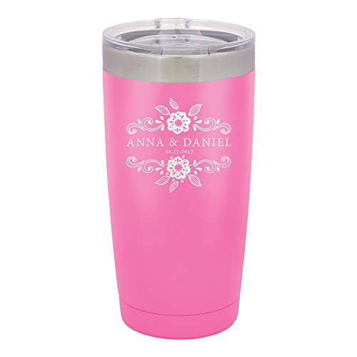 - Froolu Travel Coffee Mug - Pink Personalized Laser Engraved Tumbler - Hydro Travel Cup Flask