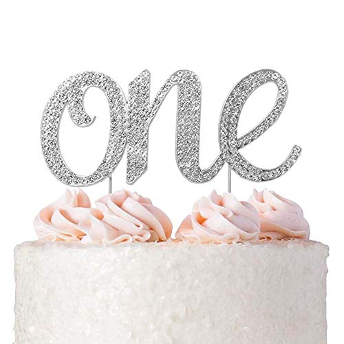 1st First Birthday Cake Topper Decoration - Silver One 1-1st Birthday Party Supplies Smash Cake Decorations - For Baby Boys and Girls (One Silver)