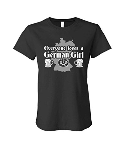 German Girl - Everyone Loves - Beer Mug - Ladies Cotton T-Shirt, L, Black