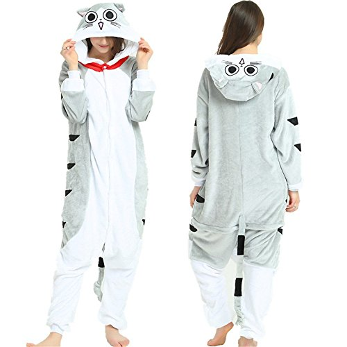 Indiefit Adults Onesie Pyjamas Flannel Animal Cosplay Costume Hoodie Sleepwear Nightgown gray cat-XL -