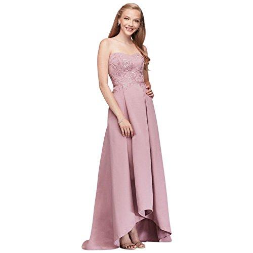 David's Bridal Appliqued Faille High-Low Bridesmaid Dress Style OC290019, Quartz, (Oleg Cassini Davids Bridal)