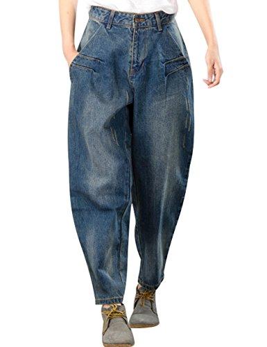 Youlee Mujeres Cool Jeans Pantalones de harén con bolsillos Estilo 1