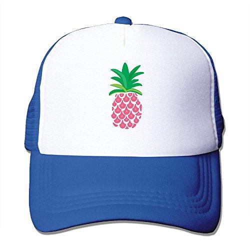 Football Mesh Cap (Adult Pink Pineapple Mesh Football Hats RoyalBlue)