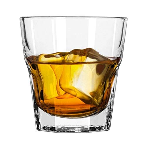 Set of Two Libbey 8 oz. Gibraltar Rocks Whiskey/Mixed-drink Glasses, DuraTuff Heat-Treated Glass. Gift Set includes Liquor Pourer and Exclusive Starlines Coasters. ()