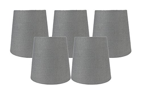 Meriville Set of 5 Graphite Linen Clip On Chandelier Lamp Shades, 3.5-inch by 4.5-inch by 4.5-inch
