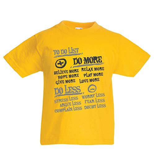 lepni.me Kids T-Shirt to Do List - Do More and Do Less, Happy Life Quotes (14-15 Years Yellow Multi Color)