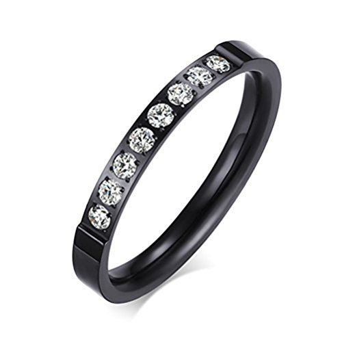 Womens Black Fashion Jewelry 3mm Stainless Steel Thin Wedding Ring CZ Zircon Engagement Promise Band Size 9