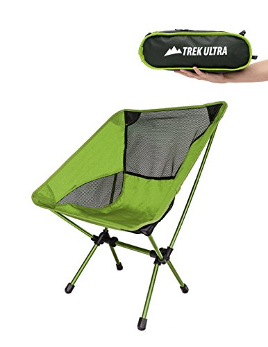 TrekUltra Portable Compact Lightweight Camp Chair with Bag - Ultralight Folding Camp Chairs - Great Beach Hiking Backpacking and Sporting Events Chair with Adjustable All Terrain Feet