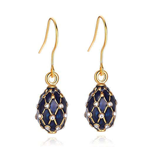 TF Charms Egg Charm Earrings with Swarovski Crystals Elements,925 Sterling Silver Hooks (Blue)