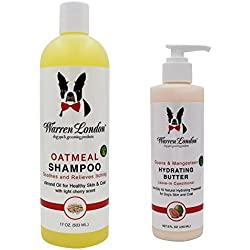 Warren London Combo Pack: (1) Oatmeal Shampoo for Dogs with Itchy Skin & Coats, Cherry Scented, 17 Oz, and (1) Hydrating Butter, Guava and Mangosteen, Leave-in Conditioner for Dogs, 8 Oz