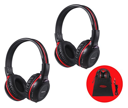 2 Pack of Wireless Car Headphones, Wireless Headphones for Kids, In Car Wireless Headphones with Travelling Bag for Universal Rear Entertainment System, 2 Channel Wireless Headphones Dvd Entertainment System