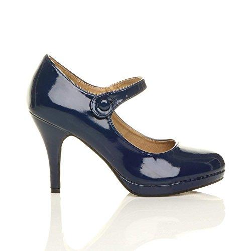 Damen Mittel Hoher Absatz Mary Jane Riemen Abend Elegant Pumps Schuhe Größe Dunkelblau Lack