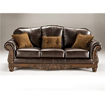 dark brown leather couches rustic ashley north shore leather sofa in dark brown amazoncom brown kitchen