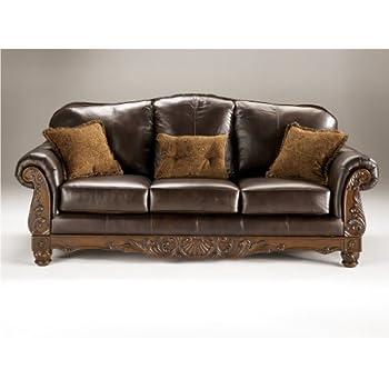 Ashley North Shore Leather Sofa In Dark Brown