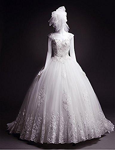 Kristallen Brautkleider 2018 Kappenärmel Mingxuerong Weiß Braut Hochzeitskleider Mit A Spitze Linie 8fAqczA