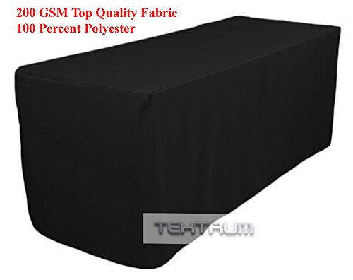 TEKTRUM 6-Feet Long Fitted Table DJ Jacket Cover for Trade Show - Thick/Heavy Duty/Durable Fabric - Black Color (TD-JKT-BLK-6FT)
