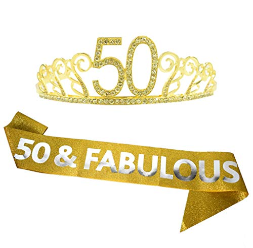 50th Birthday Gold Tiara and Sash Glitter Satin Sash and Crystal Rhinestone Tiara Crown for Happy 50th Birthday Party Supplies Favors Decorations 50th Birthday Cake Topper