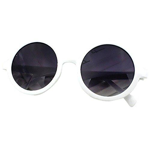 rondes Blanc pour Lobzon Femme plastique Lunettes Vintage en 50q071xw