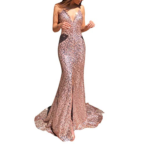 Mikilon Women's Sleeveless V Neck Strap Sequined Party Cocktail Evening Prom Gown Mermaid Split Maxi Long Dress Pink