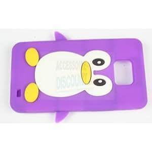 Accessoire Discount funda con tapa para Samsung Galaxy S2/i9100 diseño de pingüino morado
