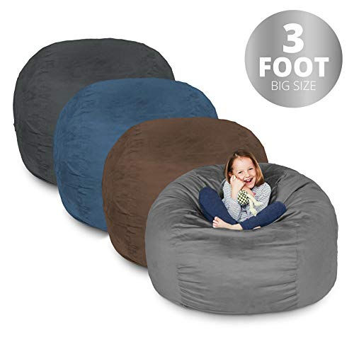 Bean Bag Chair | 3 Foot & Black | Microsuede Cover Machine Washable Big Size Sofa and Giant Lounger Furniture for Kids Teens and Adults Review