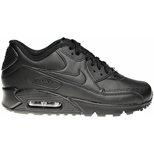 Nike Mens Air Max 90 Leather Running Shoes Black/Black 302519-001 Size - Air Jordan Nike Boots