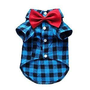 HOODDEAL Soft Casual Dog Blue and Black Plaid Shirt Gentle Dog Western Shirt Dog Clothes Dog Cotton Shirt + Dog Wedding…