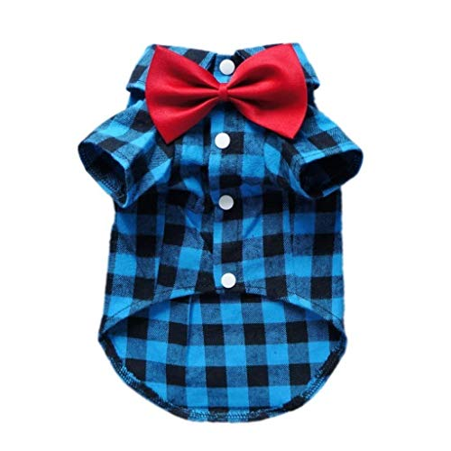 (HOODDEAL Cozy Casual Blue and Black Plaid Dog Cat Shirt Stylish Western Dog Cat Clothes Gentle Dog Cat Cotton Polo Shirt + Dog Cat Wedding Tie,Blue (Large))
