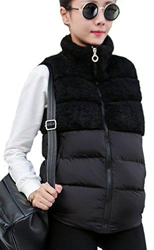彼の古代手錠(アイユウガ)I-YUUGA レディース ダウンベスト 冬 厚手 軽量 ダウンコート ノースリーブ 無地 スプライス トップス 柔らかい お洒落 暖かい アウター 韓国風 ファッション チョッキ スリム 着痩せ