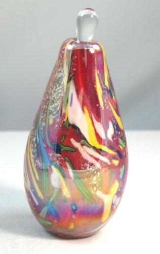 Murano Design Rainbow Layer Swirls Glass Perfume Bottle Paperweight