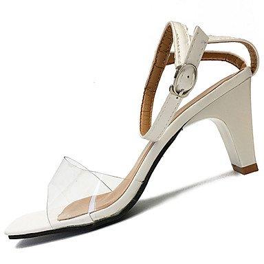 LvYuan Mujer Sandalias Confort PU Verano Casual Vestido Paseo Confort Hebilla Tacón Robusto Blanco Negro 2'5 - 4'5 cms White