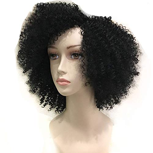 Afro Kinky Curly Wig Short Synthetic Wig 130% Density Wigs for Women Black Full Machine,#1,as shown
