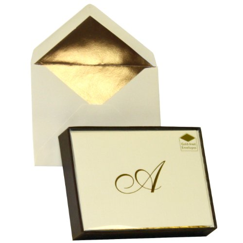 Designer Greetings Monogram Boxed Note Cards, Personalized Stationery Set (10 Count), Letter A