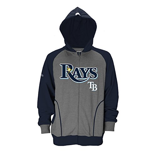 Stitches MLB Tampa Bay Rays Men's CVC Heather Brushed Fleece Hood, XX-Large, Charcoal ()