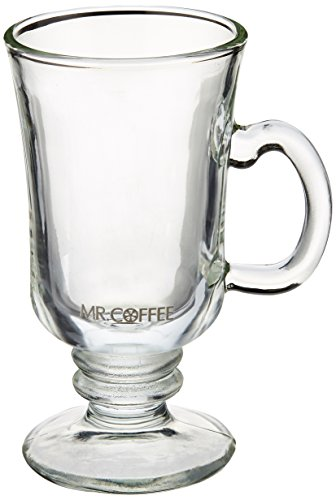 Mr. Coffee 4-piece Irish Coffee Mugs - Glass Pedestal Coffee Mugs