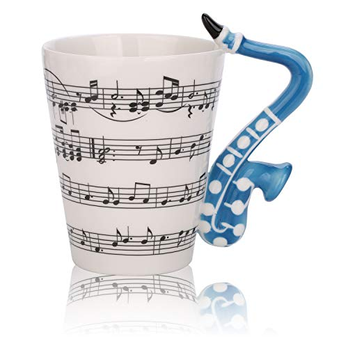 Novelty Saxophone Music Unique Handle Art Musical Notes Holds Tea Coffee Milk Ceramic Mug Cup 12 Oz Best Gift,Black