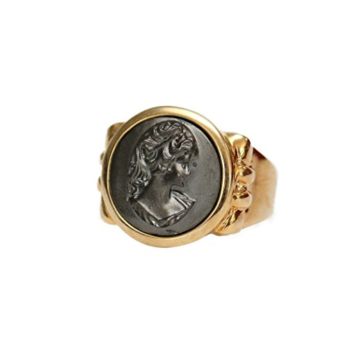 - Providence Vintage Jewelry Black Oxidized Cameo Ring 18k Yellow Gold Electroplated