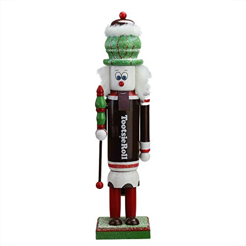 (Northlight Decorative Brown Red and White Tootsie Roll Wooden Christmas Nutcracker Figure, 14